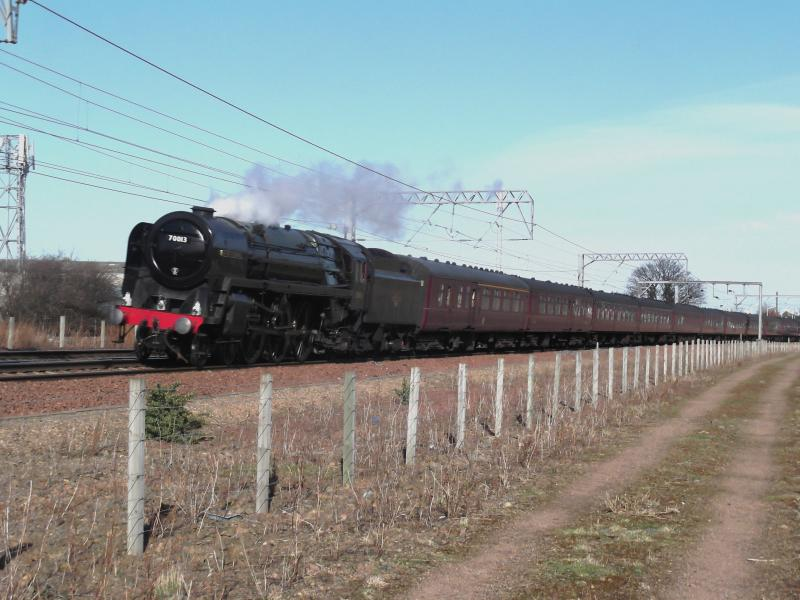 Photo of 70013 thundering past Prestonpans