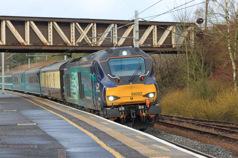 Photo of 68002 'Intrepid' at Carstairs on southbound Welsh rugby special 16.2.2015