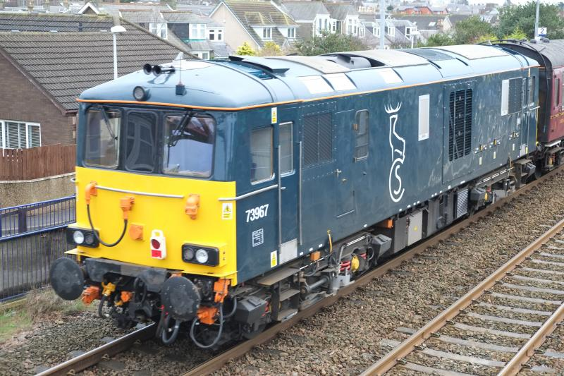 Photo of Caledonian Sleeper Loco at Golf Street Carnoustie